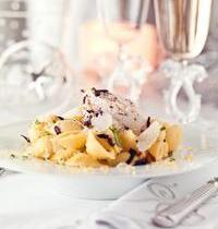 Conchiglie with lemon, mascarpone and black olive slivers