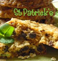 Cookies aux flocons d'avoine, chocolat et raisin pour la St Patrick par la soupe à la citrouille