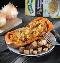 Courge butternut farcie aux poireaux et quinoa