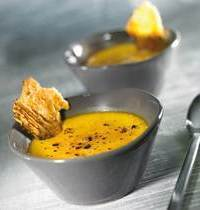 Pumpkin crème brulée with parmesan crisps