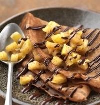Crêpes au  chocolat et compotée de mangue