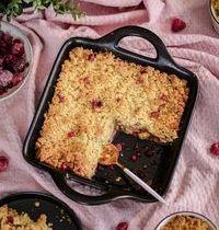 Crumble healthy & vegan : framboises, pomme, amandes