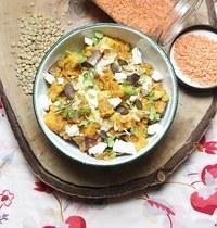 Curry d'aubergines et lentilles au lait de coco