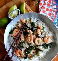 Curry vert Thaï de crevettes aux aubergines