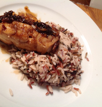 Soy sauce and honey-glazed cod