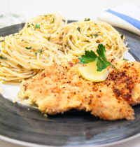 Escalope milanaise et spaghetti façon marinière