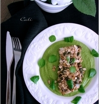 Filets d'Eglefin au Muesli & Graines de Courge, Crème de Petits Pois