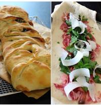 Cured ham, arugula and parmesan fougasse bread