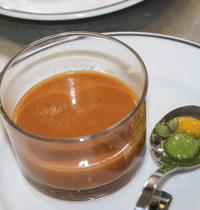 Tomato gazpacho, cucumber spheres, bell pepper, tabasco