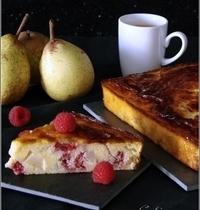 Gâteau de Semoule, à la Poire & aux Framboises