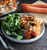 Gratin de patate douce, carottes et tofu