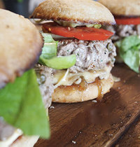 Beef hamburger with caramelized onions