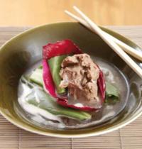 Joue de porc confite au cidre, sauce soja