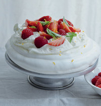 Karen's mixed red fruit pavlova