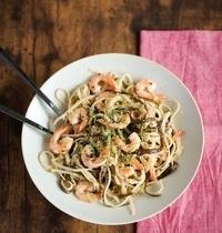 Linguine et spaghetti de mer aux crevettes