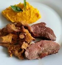 Duck breast with girolle mushrooms and pumpkin soup