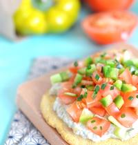 Mini pizza vegan et sans gluten tomate et poivron