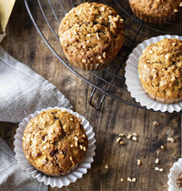 Muffins aux pommes, nougatine & cannelle