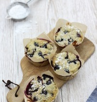Muffins banane, gingembre et myrtilles