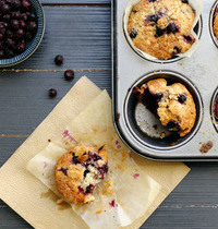 Muffins banane, myrtilles, gingembre