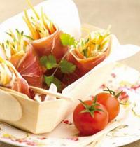 Nems de jambon de Bayonne, julienne de légumes en anchoïade