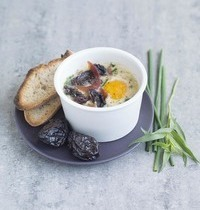 Agen Prune©  and Bayonne ham Oeuf Cocotte