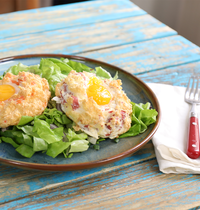Oeuf en nuage (saumon et bacon)