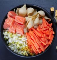 One pot pasta conchiglioni, saumon aux petits légumes