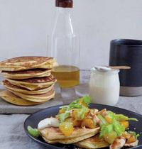 Chickpea pancakes, sautéed chicken and orange blossom salad