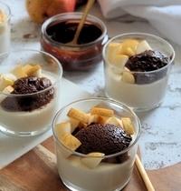 Panna cotta & poire & mousse au chocolat