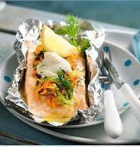 Salmon en papillote (baked in foil)