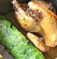 Guinea fowl and chestnuts with green cabbage