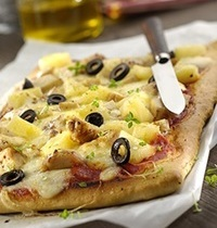 Pizza Poulet, Curry et Ananas