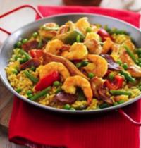 Poêlée de crevettes, poulet aux petits légumes façon paëlla