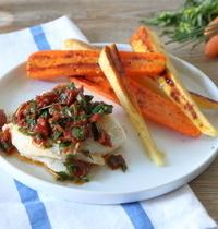 Poisson sauce vierge et légumes glacés