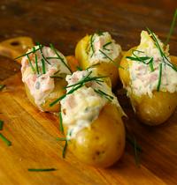 Pommes de terre fourrées au saumon