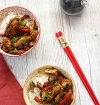 Wok de poulet aux légumes et sauce soja
