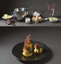 Profiteroles au chocolat fève tonka et tuiles au carambar