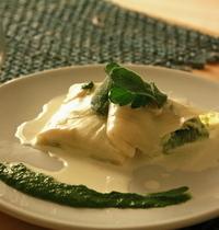 Ravioli primavera with cod