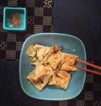 Spring onion and shrimp ravioli