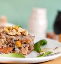Risotto aux champignons et aux châtaignes (vegan, sans gluten)