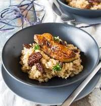 Morel risotto and pan-fried foie gras