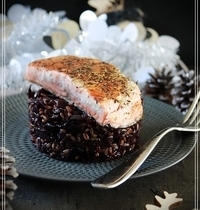 Risotto d'avoine au chou rouge et pavé de saumon