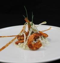 Risotto de pousses de soja et crevettes à la ciboulette