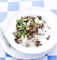 Risotto de quinoa, crème d'amande, mousserons et noisette