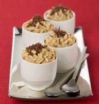 Riz au lait au café et copeaux de chocolat