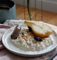 Riz au lait de coco poires pochées aux épices