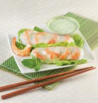 Rouleaux de printemps, crème acidulée et wasabi