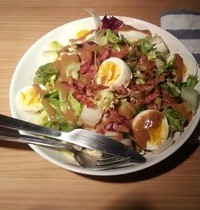 Country salad with slab bacon lardons