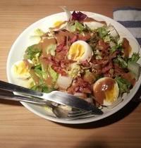 Country salad with slab bacon lardons